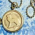 1 Antique Rabbit charm Irish 3 pence Necklace Vtg Bunny coin jewelry lucky Men