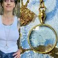 1 Magnifying glass Necklace Reading Fancy Long vtg chain 5x Magnification